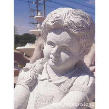 G617 granite boy and girl garden statues