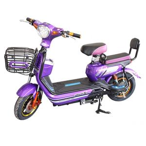 Two seat small electric bicycle purple