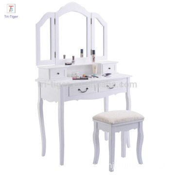 Folding Vintage White Bathroom Vanity Makeup Dressing Table Set with stool
