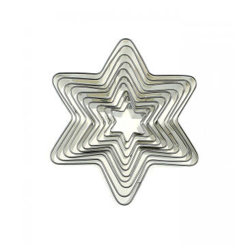 10Piece Stainless Steel hexagram Star cookie cutter set