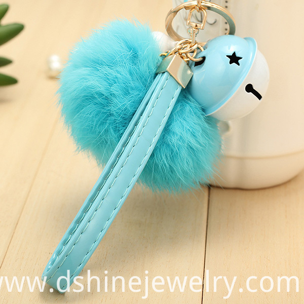 Rabbit Fur Ball Charm Keychain With Bell Pendant