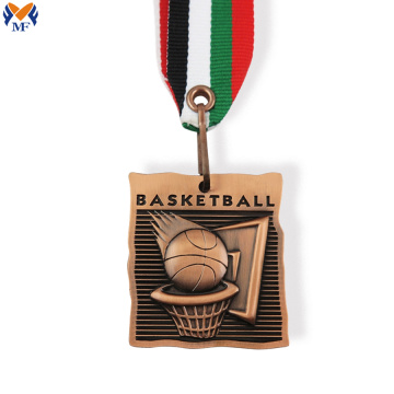 Metal copper medal for basketball nets design