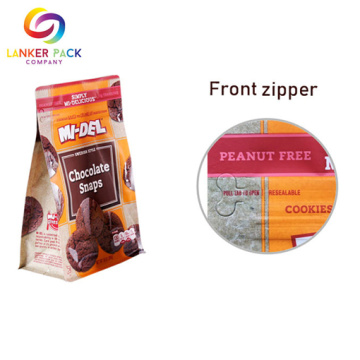 BPA Free Cookies Packaging With Reclosable Front Zipper