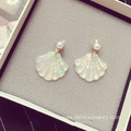 Retro Pearl Stud Earrings Rainbow Shell Pendant Earring