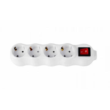 4 way European power strip with switch