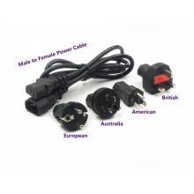 IEC320-C14 to IEC320-C13 Extension Power Cord