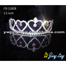 Half Heart Rhinestone Crown Hair Tiaras Silver