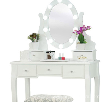 Dressing Table with Stool and LED Lights with 5 Drawers and Mirror, White