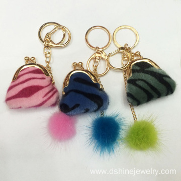 Tiny Mink Fur Ball Keychains For Women Handbag Charms