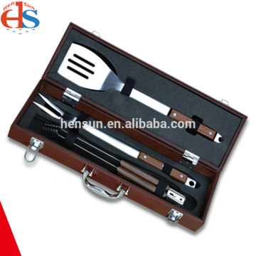 3pcs Barbecue Set with Portable Wooden Box