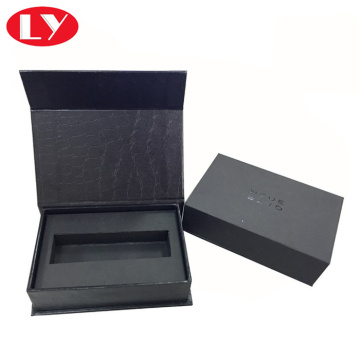 Black perfume paper box packaging with foam insert