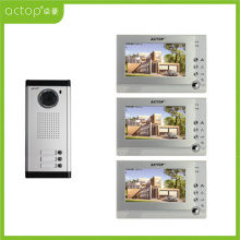 Wired Memory Video Intercom System for 3-apartments