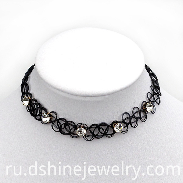 Handmade Vintage Stretch Crystal Black Tattoo Choker Necklace