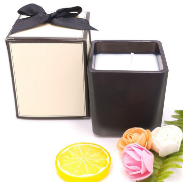 Natural Soy Wax Black Square Glass Container Aromatics Candle