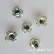 4 Prongs Zinc Plating disk Tee Nuts
