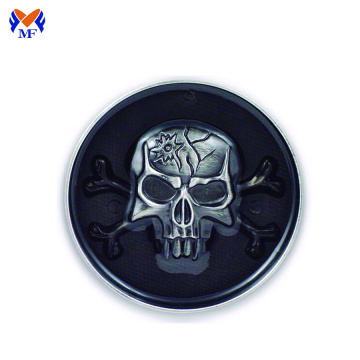 Custom design black skull round head buckle