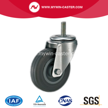 3 Inch Threaded Stem Swivel Gray Rubber PP Core Caster Wheel