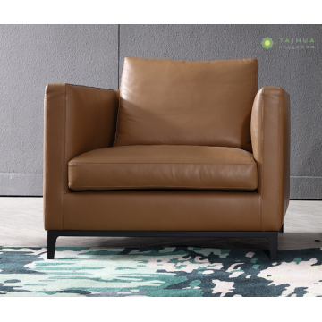 Banayad na Tan leather Cushion Single-upuan Sofa