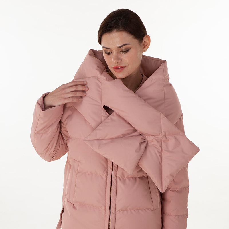 Down jacket with down collar