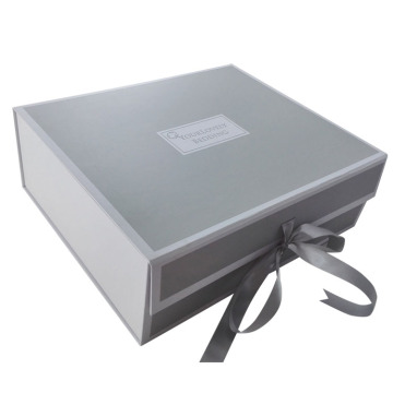 Silver Magnetic Folding Box with Ribbon Closure