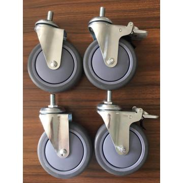 5inch thread stem casters PU wheels