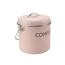 Vintage Cream Powder Kitchen Compost Pail with Lid