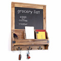Rustic Burnt Wood Wall-Mounted Entryway Organizer with Chalkboard Sign & Key Hooks