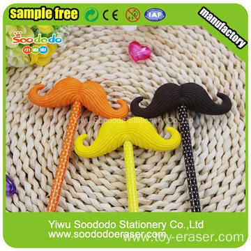 3D Wholesale Promotional Gift Mustache Toy Eraser