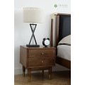 Solid Rubber Wood Night Stand Bronze Leg