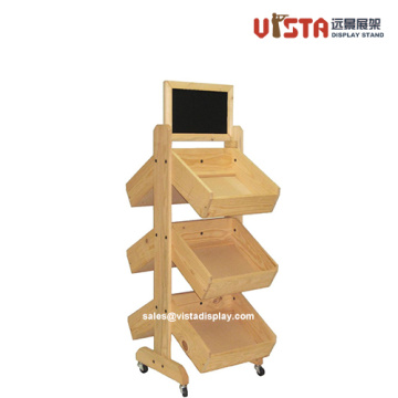 Wooden-Made Promotional Display Shelves with Wheels