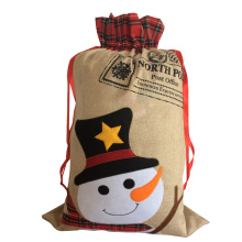 Large snowman pattern christmas burlap sack