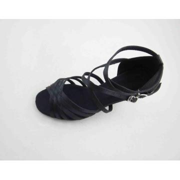 Ladies black satin dance shoes