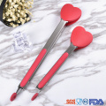 Christmas theme gift heart shape silicone kitchen tong