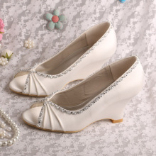 Pleated Satin Peep Toe Wedding Wedges for Bride