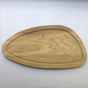 Oak wood oval cutting baord with well