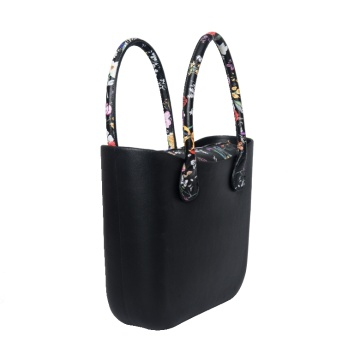 Classic black PU handles tote O style Bags