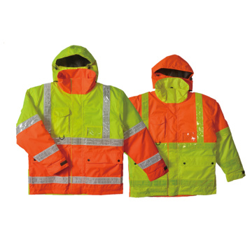 Factory source manufacturing for Reflective Jacket Hi-vis waterproof quilt-lined jacket with PVC  tape export to Qatar Importers