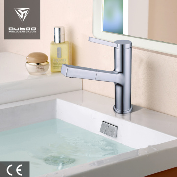 Single handle pull out basin faucet with sprayer
