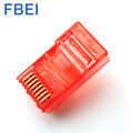 Red Color RJ45 Cat5e connector 8P8C connector