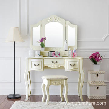 Vanity Set Beauty Station Makeup Table Wooden Stool 3 Mirrors with 5 Organization Drawers Ivory White