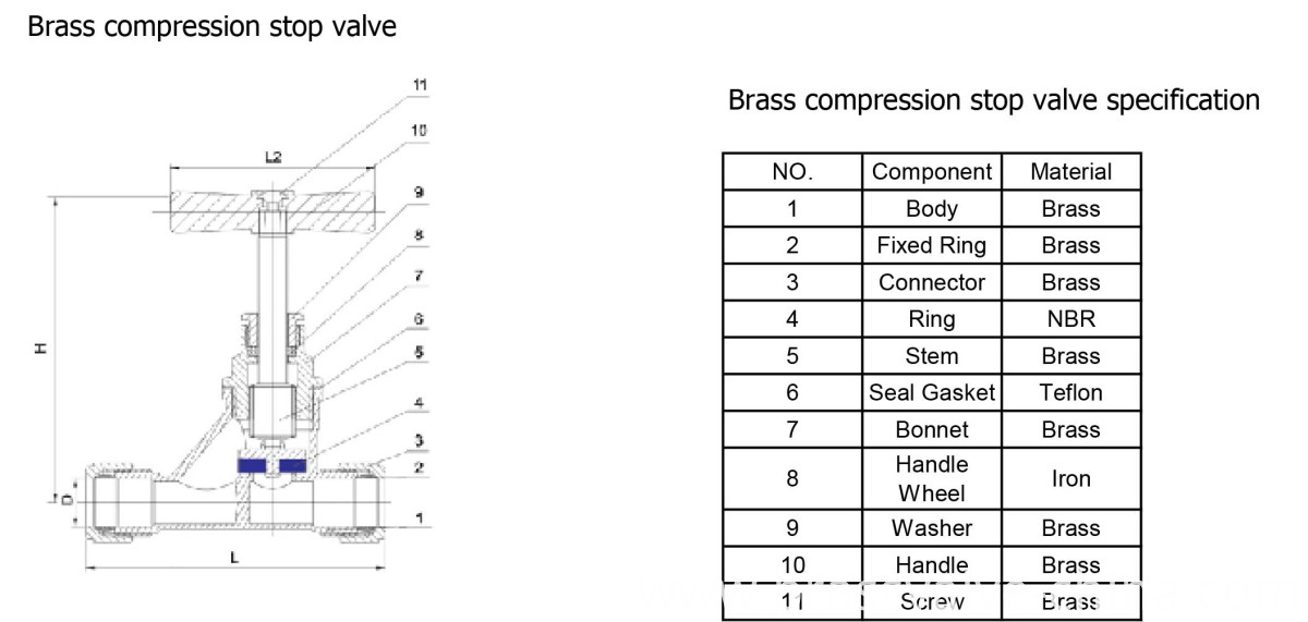 brass compression stop valve HS07 DWG