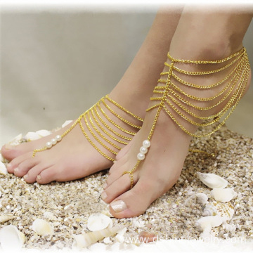 Toe Chain Anklet Pearl Jewelry Multi Chain Tassel Fingerless Anklet