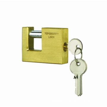 90mm Rectangular Brass Padlocks, Hardened Shackle