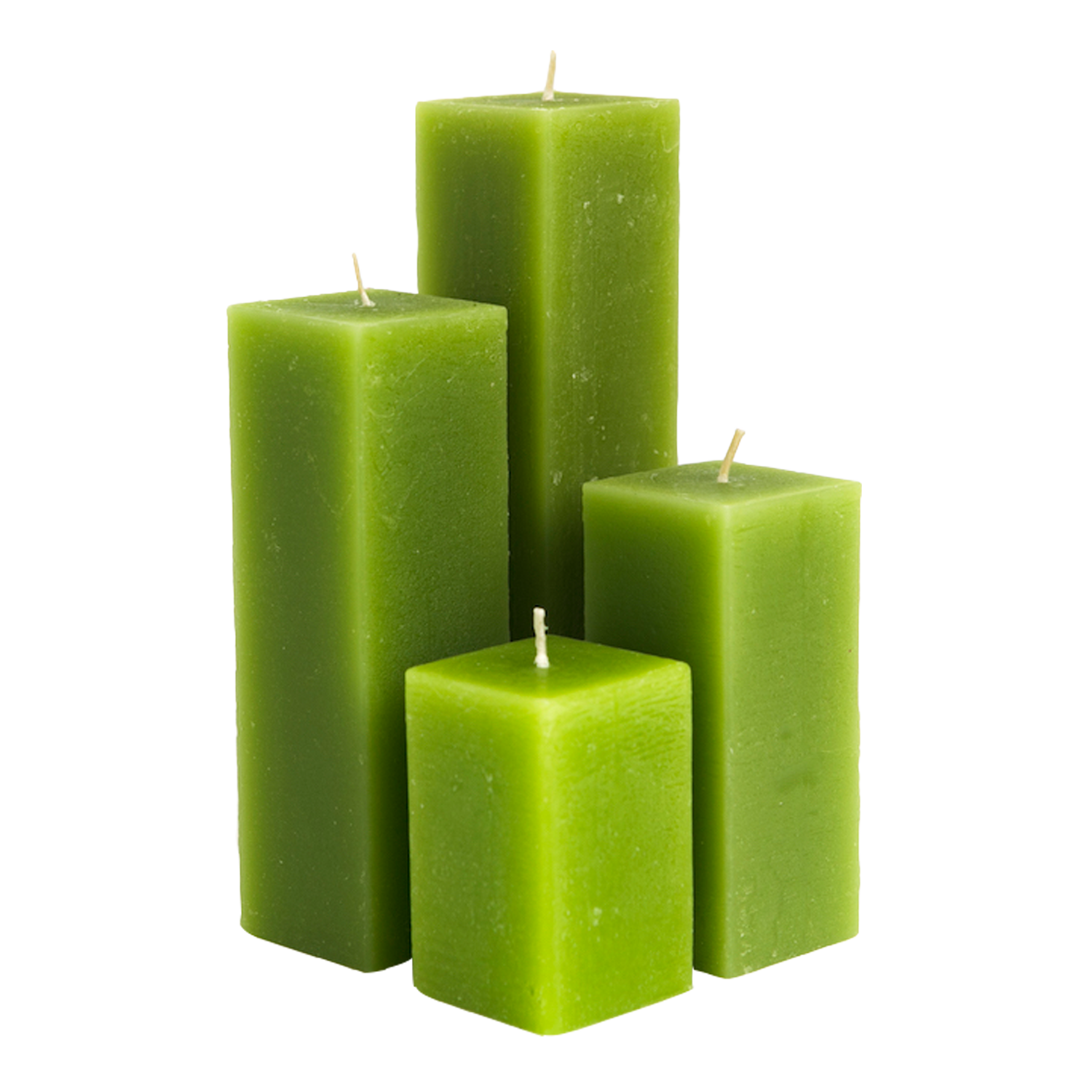 Green Square Pillar Candles with Flat top Excellence Candle