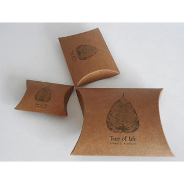 Custom Brown Kraft Pillow Gift Candy Paper Box