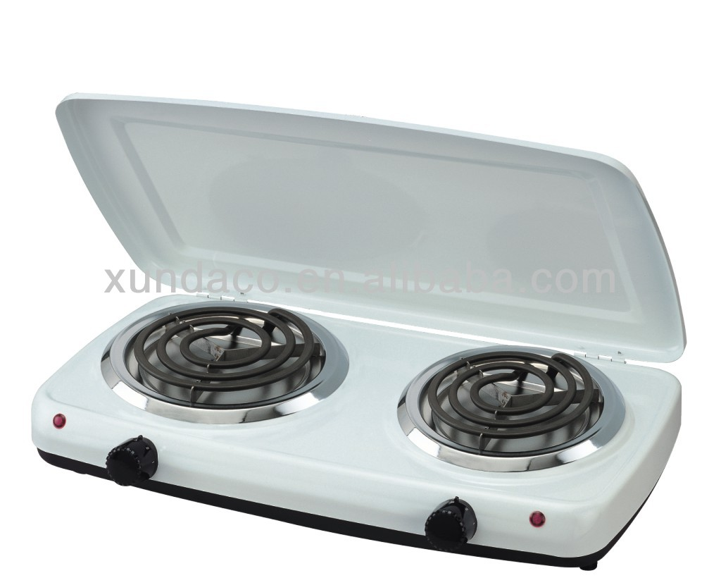 2 Burner Portable Electric Hotplate with Cover