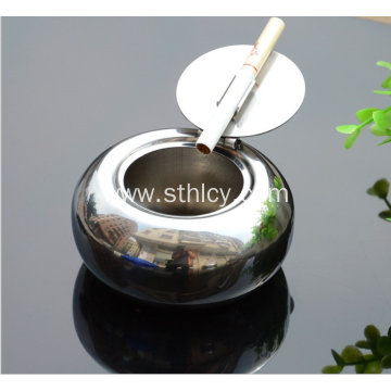 Stainless steel ashtray with lid creative personality