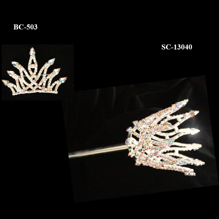 Gold Plated Rhinestone Crown Hairpin For Love