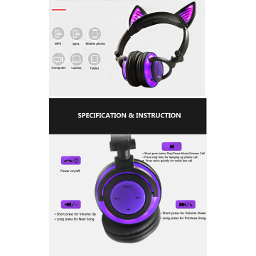 New type wireless headphones with LED light