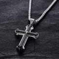 Stainless Steel Mens Cross Necklace With Bible Verse
